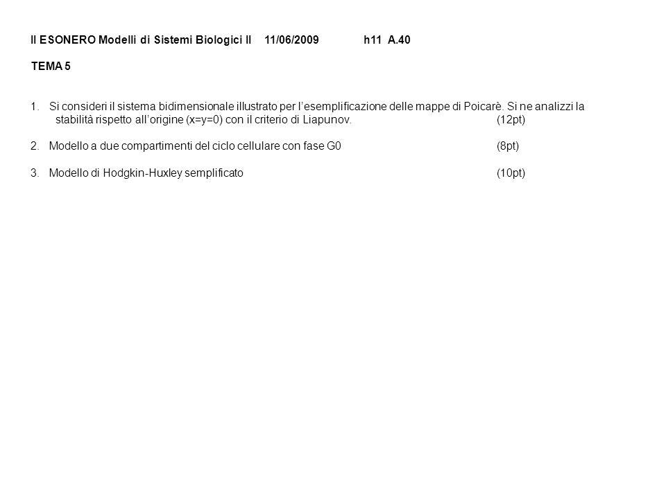 II ESONERO Modelli di Sistemi Biologici II 11/06/2009h11 A.40 TEMA 5 1.