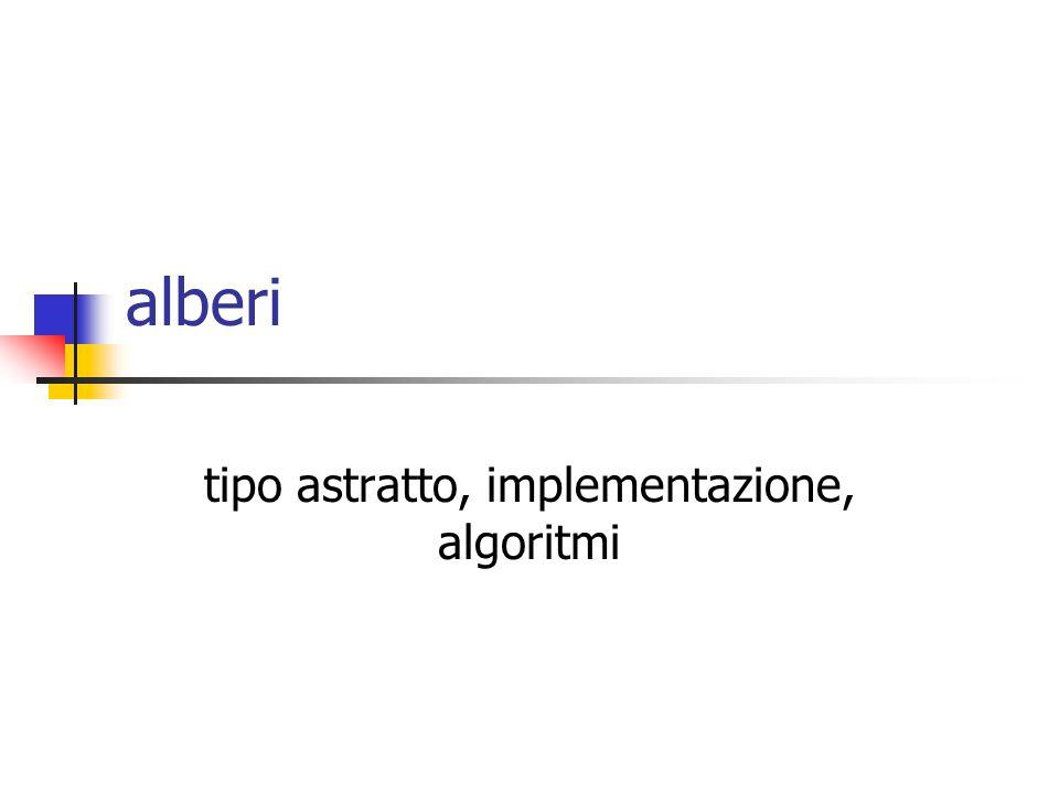 ASD - Alberi12 tipo astratto albero in Java public interface Tree { Object element(TreeNode v); TreeNode root(); TreeNode parent(TreeNode v); ListIteratorListIterator children(TreeNode v); boolean isLeaf(TreeNode v); boolean isRoot(TreeNode v); }