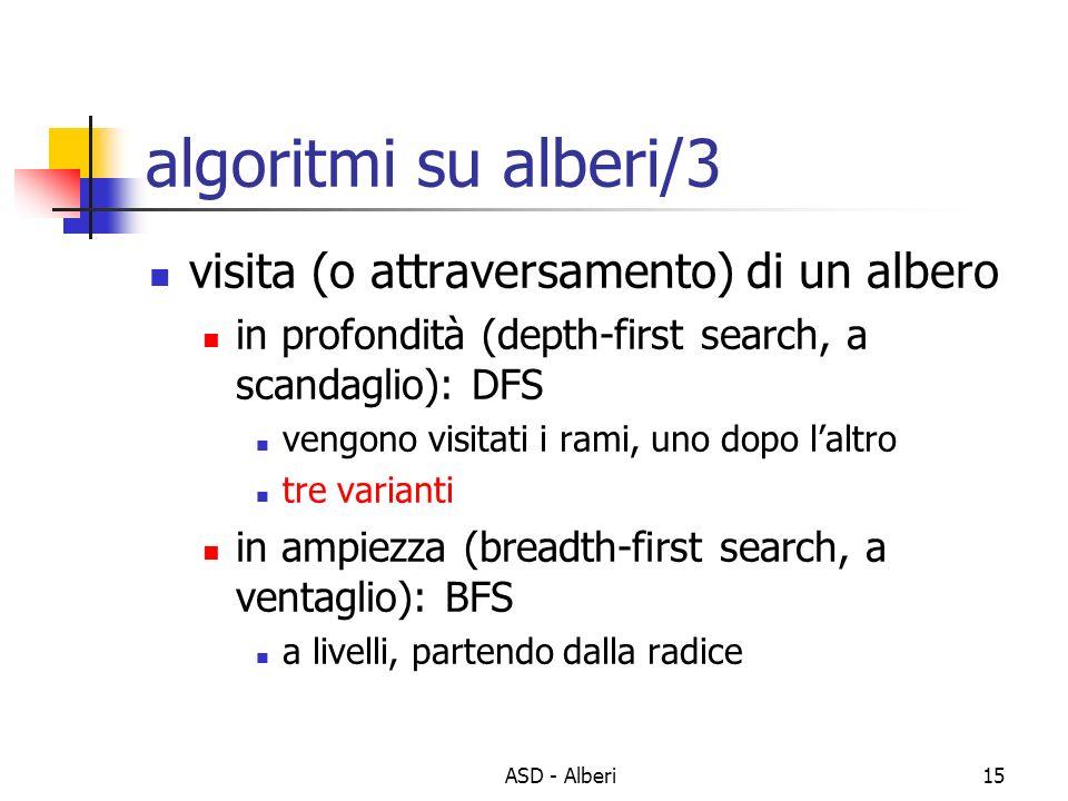 ASD - Alberi15 algoritmi su alberi/3 visita (o attraversamento) di un albero in profondità (depth-first search, a scandaglio): DFS vengono visitati i