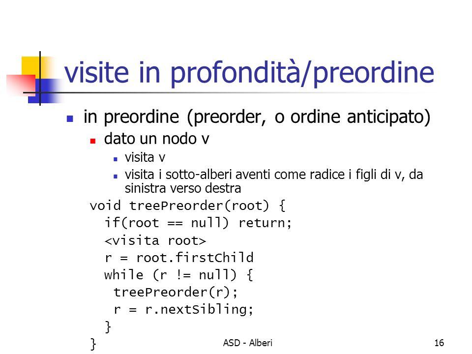 ASD - Alberi16 visite in profondità/preordine in preordine (preorder, o ordine anticipato) dato un nodo v visita v visita i sotto-alberi aventi come r