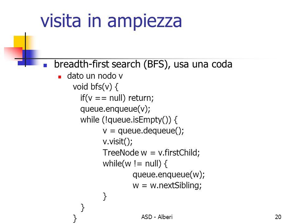 ASD - Alberi20 visita in ampiezza breadth-first search (BFS), usa una coda dato un nodo v void bfs(v) { if(v == null) return; queue.enqueue(v); while