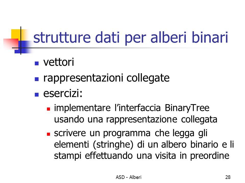 ASD - Alberi28 strutture dati per alberi binari vettori rappresentazioni collegate esercizi: implementare linterfaccia BinaryTree usando una rappresen