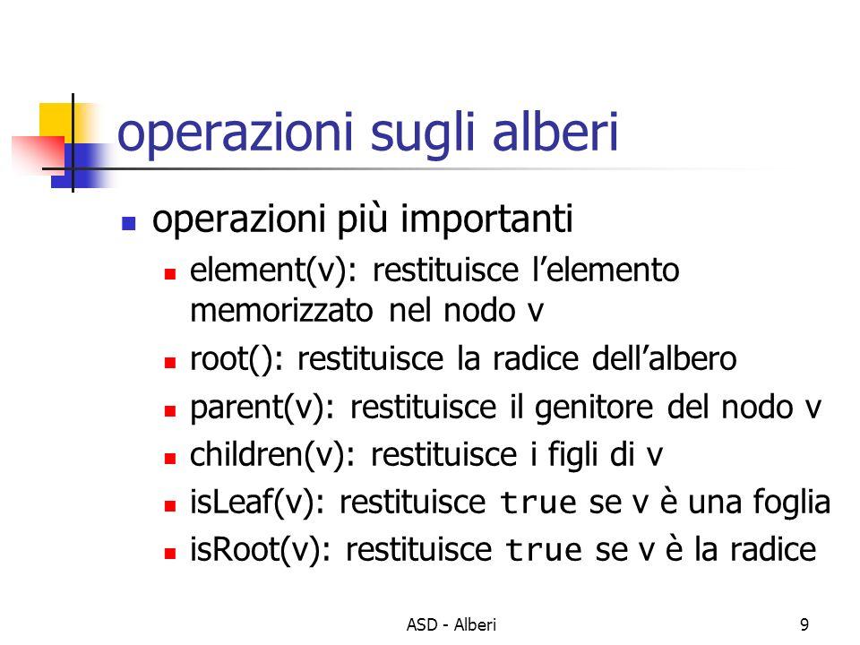 ASD - Alberi9 operazioni sugli alberi operazioni più importanti element(v): restituisce lelemento memorizzato nel nodo v root(): restituisce la radice