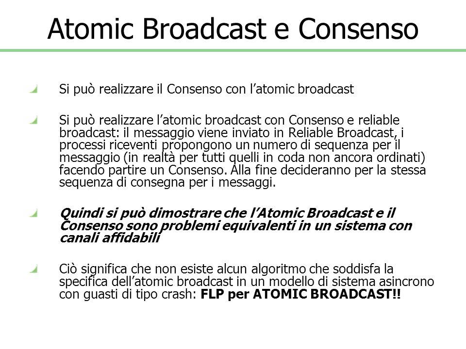 Atomic Broadcast e Consenso Si può realizzare il Consenso con latomic broadcast Si può realizzare latomic broadcast con Consenso e reliable broadcast: il messaggio viene inviato in Reliable Broadcast, i processi riceventi propongono un numero di sequenza per il messaggio (in realtà per tutti quelli in coda non ancora ordinati) facendo partire un Consenso.