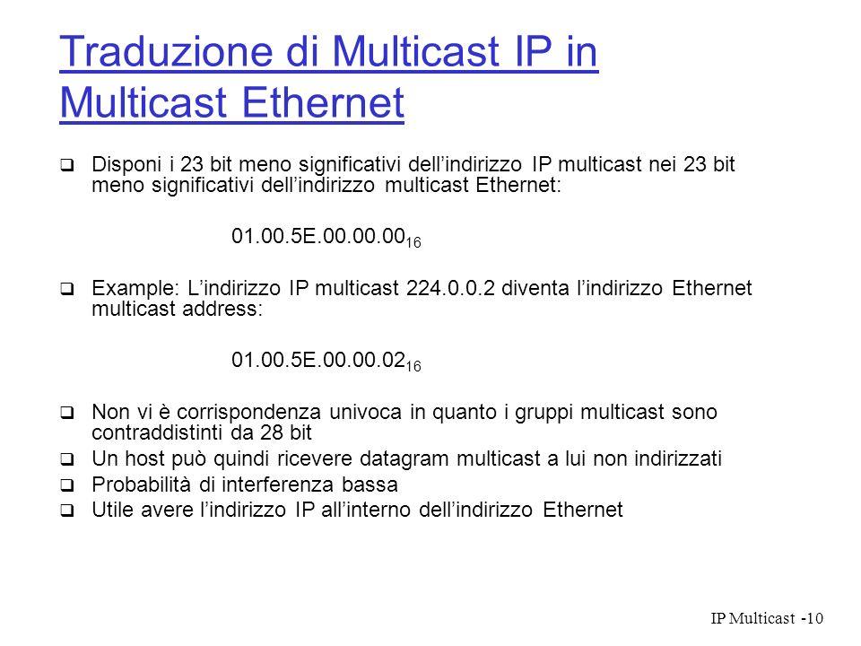IP Multicast-10 Traduzione di Multicast IP in Multicast Ethernet Disponi i 23 bit meno significativi dellindirizzo IP multicast nei 23 bit meno signif