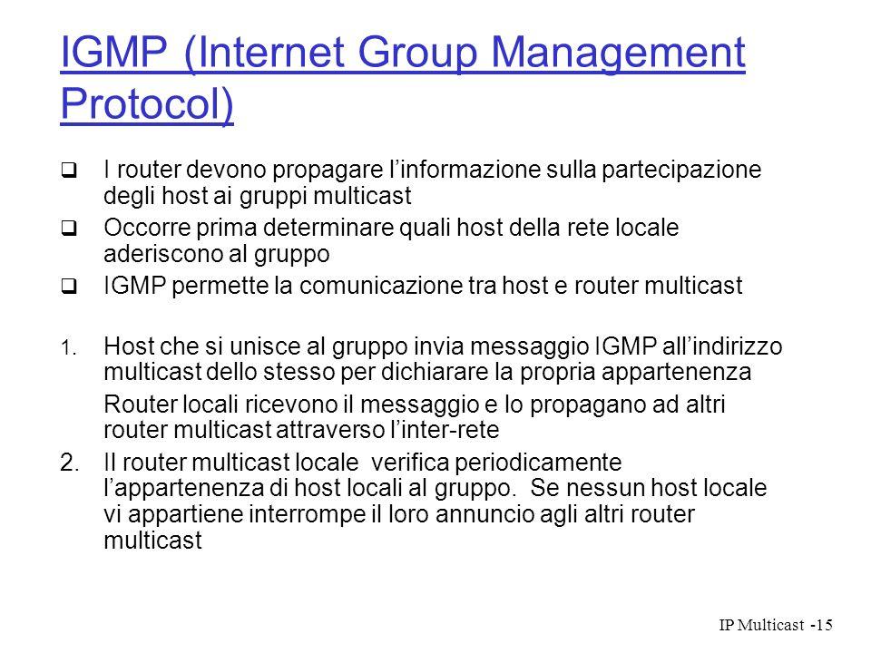 IP Multicast-15 IGMP (Internet Group Management Protocol) I router devono propagare linformazione sulla partecipazione degli host ai gruppi multicast