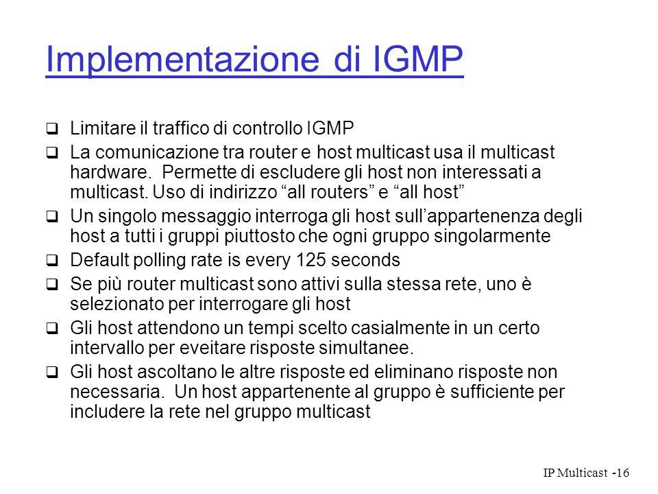 IP Multicast-16 Implementazione di IGMP Limitare il traffico di controllo IGMP La comunicazione tra router e host multicast usa il multicast hardware.