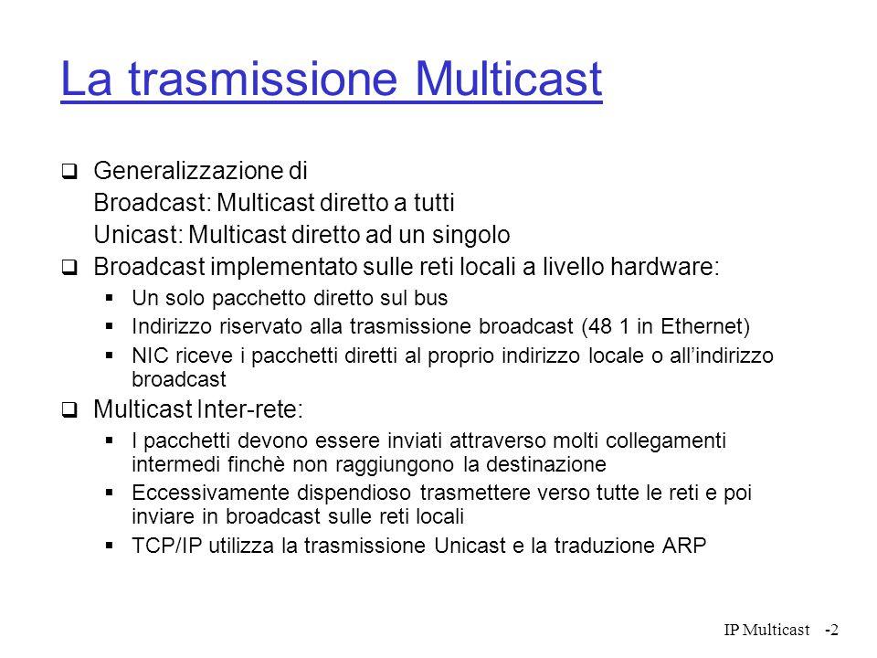 IP Multicast-2 La trasmissione Multicast Generalizzazione di Broadcast: Multicast diretto a tutti Unicast: Multicast diretto ad un singolo Broadcast i