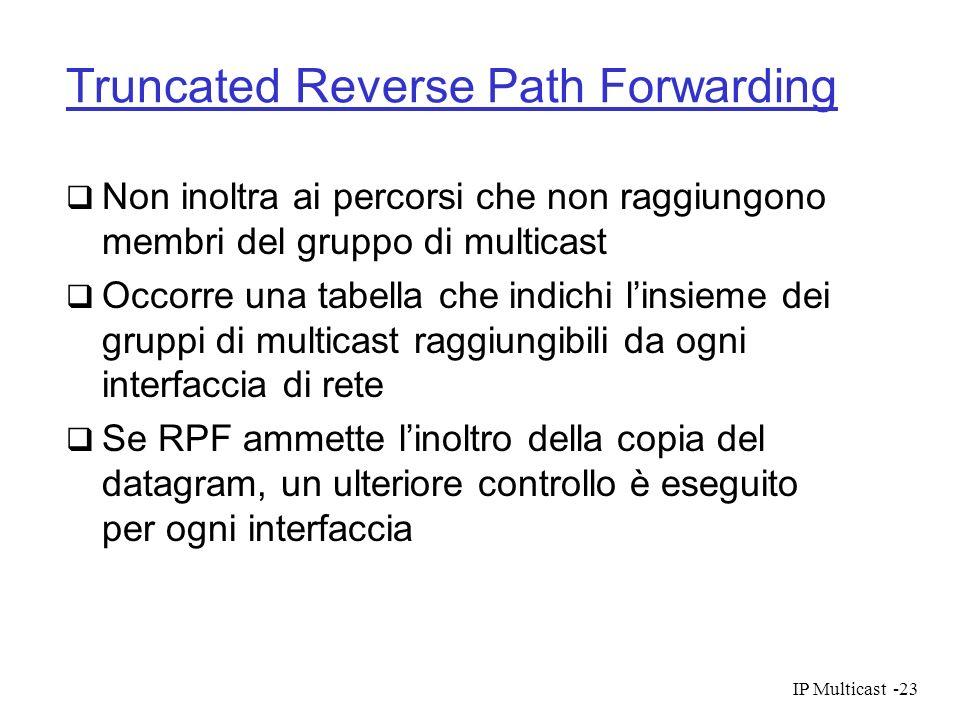 IP Multicast-23 Truncated Reverse Path Forwarding Non inoltra ai percorsi che non raggiungono membri del gruppo di multicast Occorre una tabella che i