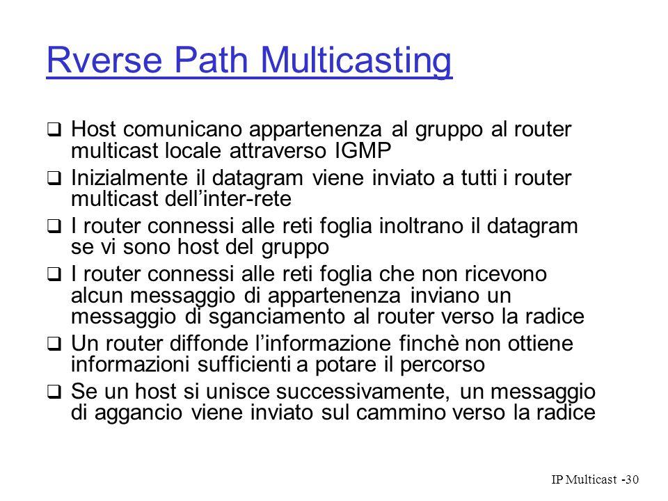 IP Multicast-30 Rverse Path Multicasting Host comunicano appartenenza al gruppo al router multicast locale attraverso IGMP Inizialmente il datagram vi