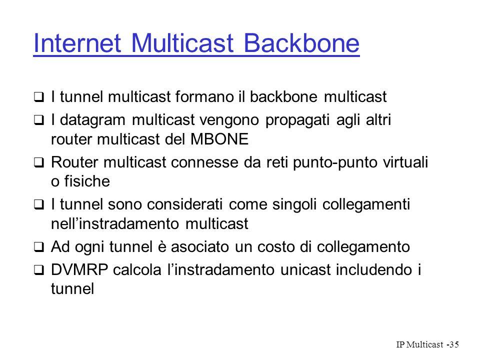 IP Multicast-35 Internet Multicast Backbone I tunnel multicast formano il backbone multicast I datagram multicast vengono propagati agli altri router