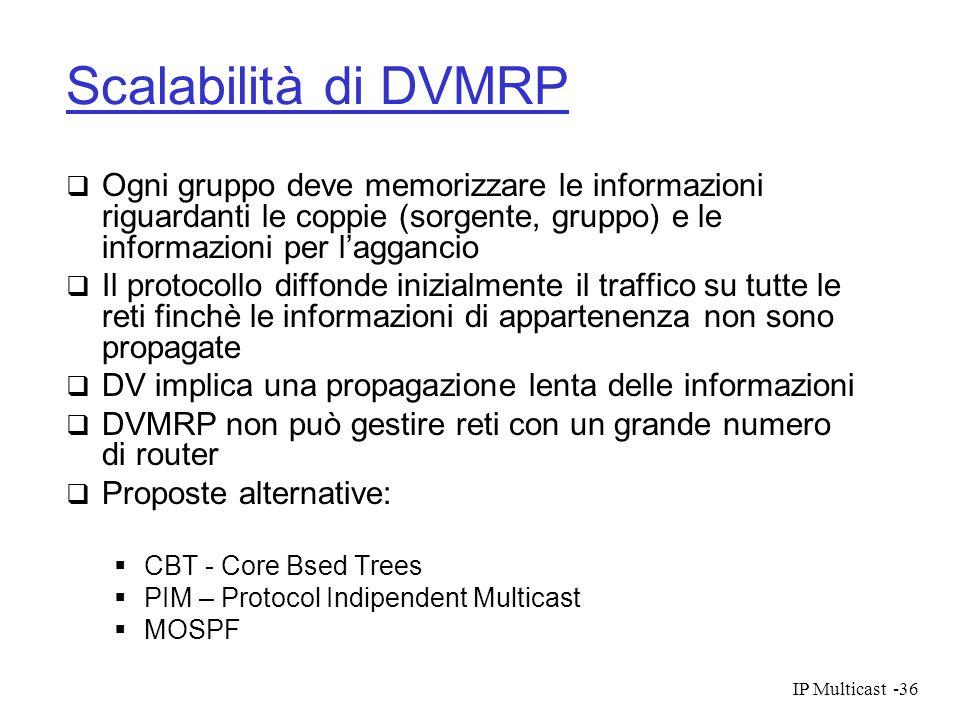 IP Multicast-36 Scalabilità di DVMRP Ogni gruppo deve memorizzare le informazioni riguardanti le coppie (sorgente, gruppo) e le informazioni per lagga