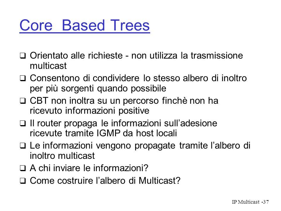 IP Multicast-37 Core Based Trees Orientato alle richieste - non utilizza la trasmissione multicast Consentono di condividere lo stesso albero di inolt