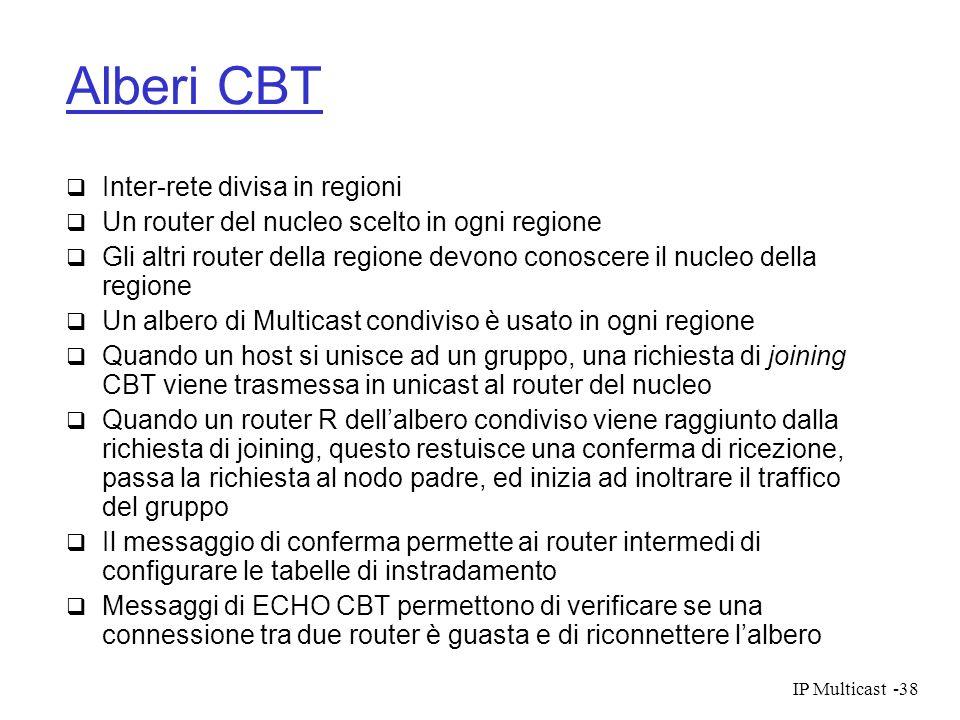 IP Multicast-38 Alberi CBT Inter-rete divisa in regioni Un router del nucleo scelto in ogni regione Gli altri router della regione devono conoscere il