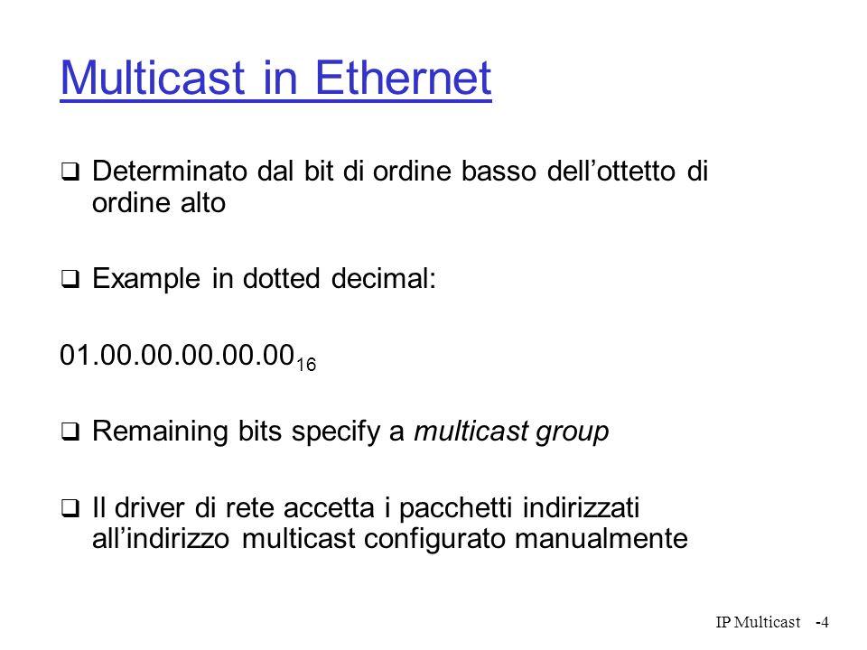IP Multicast-4 Multicast in Ethernet Determinato dal bit di ordine basso dellottetto di ordine alto Example in dotted decimal: 01.00.00.00.00.00 16 Re