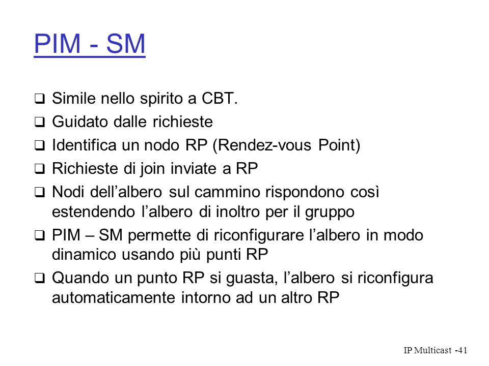 IP Multicast-41 PIM - SM Simile nello spirito a CBT. Guidato dalle richieste Identifica un nodo RP (Rendez-vous Point) Richieste di join inviate a RP