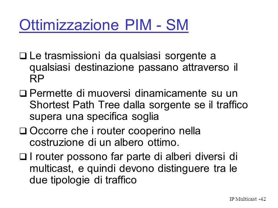 IP Multicast-42 Ottimizzazione PIM - SM Le trasmissioni da qualsiasi sorgente a qualsiasi destinazione passano attraverso il RP Permette di muoversi d