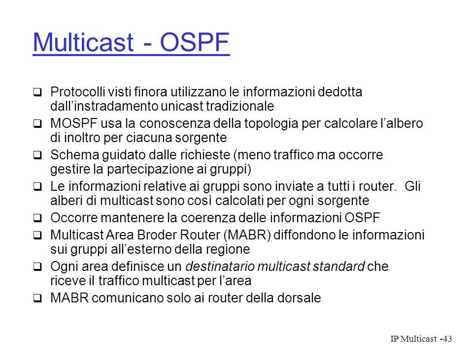 IP Multicast-43 Multicast - OSPF Protocolli visti finora utilizzano le informazioni dedotta dallinstradamento unicast tradizionale MOSPF usa la conosc