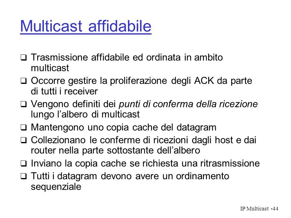 IP Multicast-44 Multicast affidabile Trasmissione affidabile ed ordinata in ambito multicast Occorre gestire la proliferazione degli ACK da parte di t