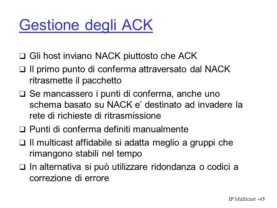 IP Multicast-45 Gestione degli ACK Gli host inviano NACK piuttosto che ACK Il primo punto di conferma attraversato dal NACK ritrasmette il pacchetto S