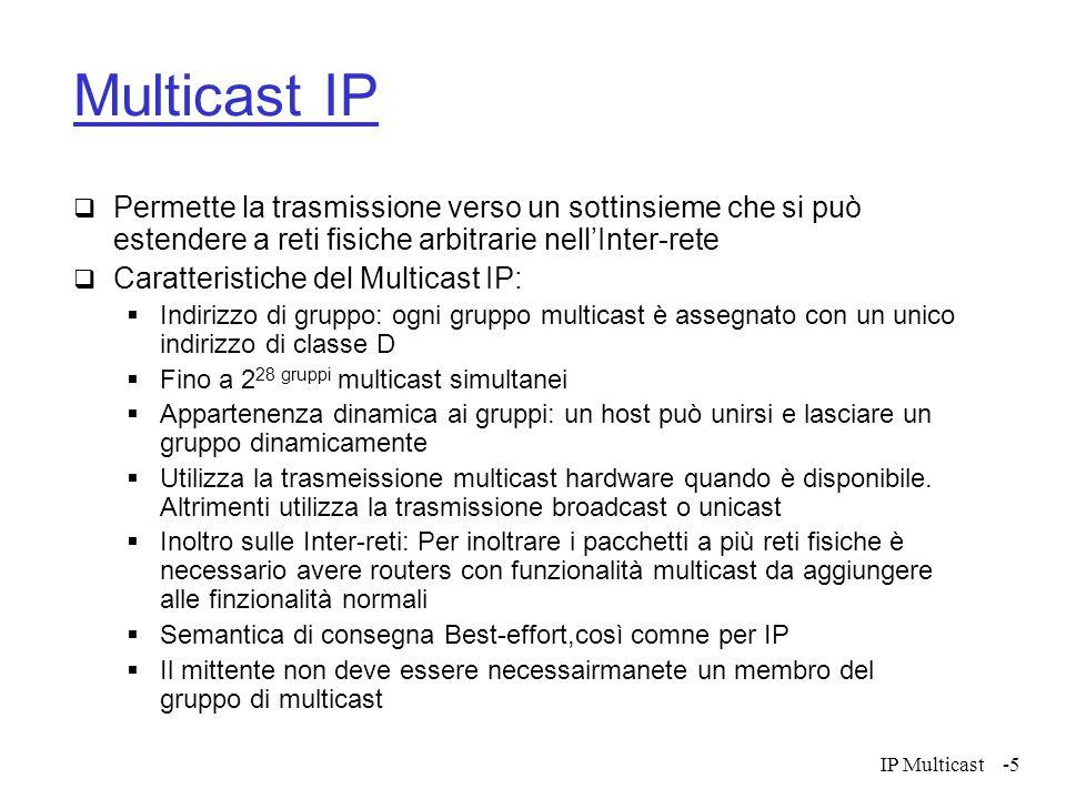 IP Multicast-5 Multicast IP Permette la trasmissione verso un sottinsieme che si può estendere a reti fisiche arbitrarie nellInter-rete Caratteristich