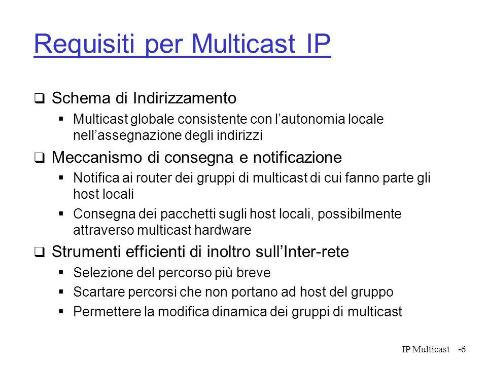 IP Multicast-6 Requisiti per Multicast IP Schema di Indirizzamento Multicast globale consistente con lautonomia locale nellassegnazione degli indirizz