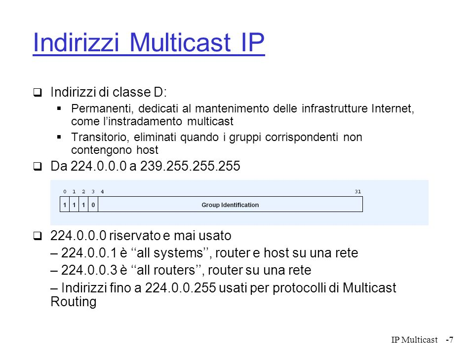 IP Multicast-28 Esempi di protocolli di instradamento Multicast Reverse Path Multicasting (RPM) Distance-Vector Multicast Routing Protocol (DVMRP) Core-Based Trees (CBT) Protocol Independent Multicast - Dense Mode (PIM-DM) Protocol Independent Multicast - Sparse Mode (PIM-SM)