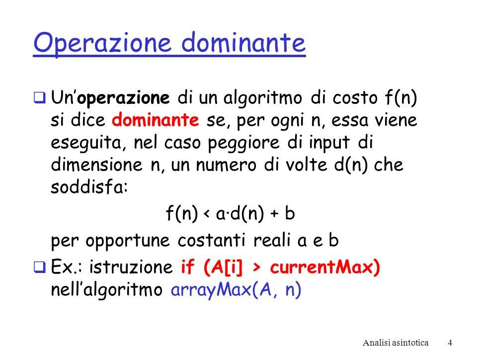 Analisi asintotica4 Operazione dominante Unoperazione di un algoritmo di costo f(n) si dice dominante se, per ogni n, essa viene eseguita, nel caso peggiore di input di dimensione n, un numero di volte d(n) che soddisfa: f(n) < a·d(n) + b per opportune costanti reali a e b Ex.: istruzione if (A[i] > currentMax) nellalgoritmo arrayMax(A, n)