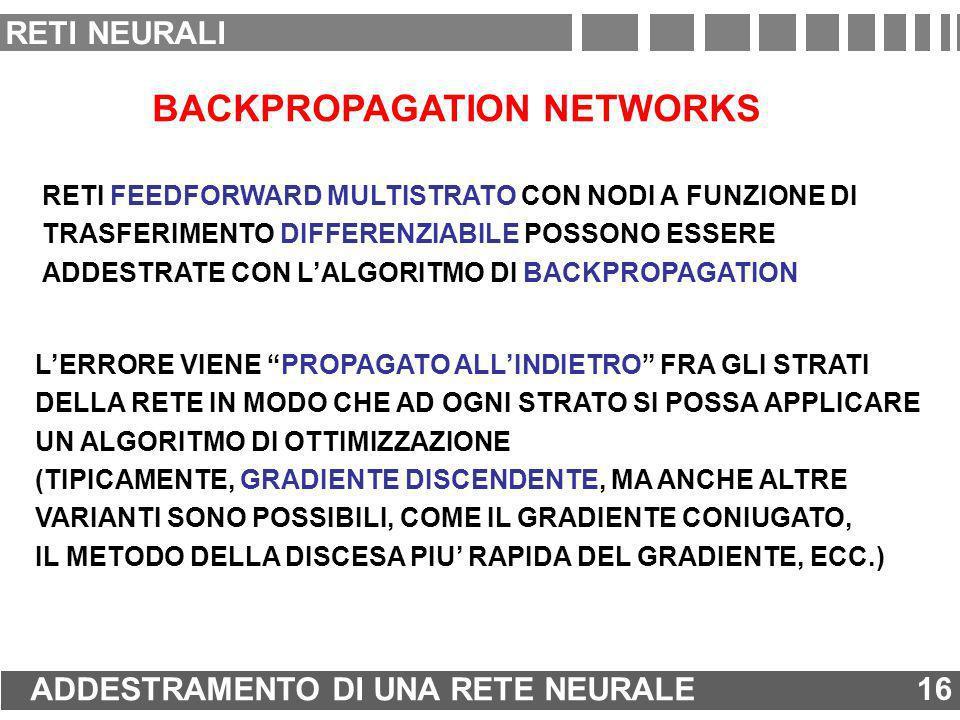 BACKPROPAGATION NETWORKS RETI FEEDFORWARD MULTISTRATO CON NODI A FUNZIONE DI TRASFERIMENTO DIFFERENZIABILE POSSONO ESSERE ADDESTRATE CON LALGORITMO DI