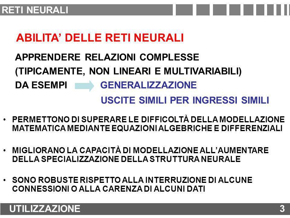 RETI LINEARI: ADDESTRAMENTO REGOLA DI APPRENDIMENTO DI WIDROW-HOFF = LEAST MEAN SQUARE (LMS) RULE SUM-SQUARED ERROR GRADIENTE DISCENDENTE VALIDA SOLO PER RETI MONOSTRATO VALIDA SOLO PER RETI MONOSTRATO 14 ADDESTRAMENTO DI UNA RETE NEURALE 14 RETI NEURALI