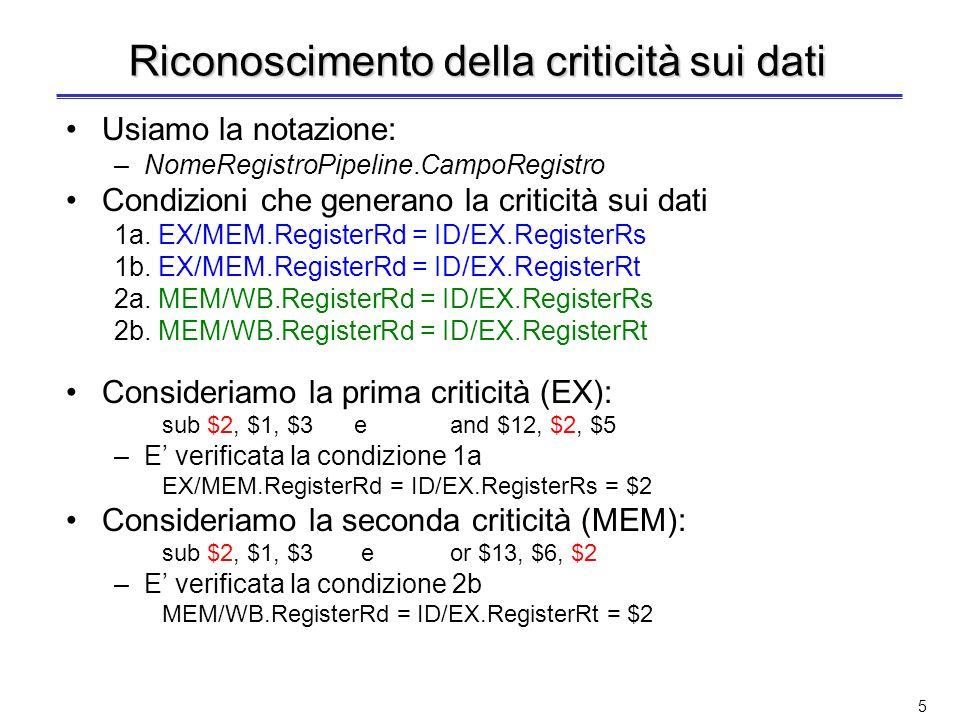 25 Esempio: cicli di clock 6 e 7 Lo stallo ha consentito a lw di scrivere nel quinto ciclo: nel sesto ciclo non occorre la propagazione da MEM/WB per or or: $4 da EX/MEM e $2 da ID/EX Criticità tra add e or su $4 add: $4 da EX/MEM e $2 da ID/EX