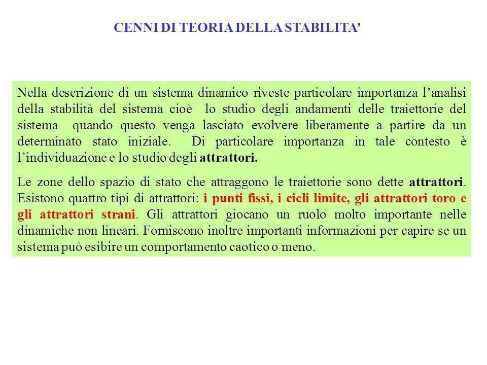 CENNI DI TEORIA DELLA STABILITA Nella descrizione di un sistema dinamico riveste particolare importanza lanalisi della stabilità del sistema cioè lo s