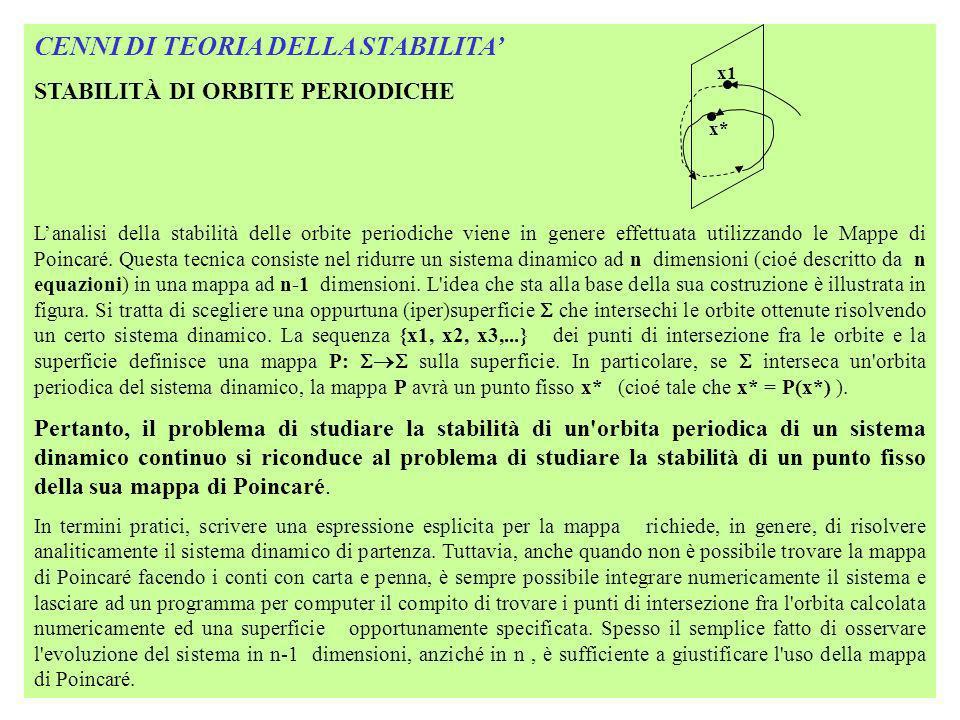CENNI DI TEORIA DELLA STABILITA STABILITÀ DI ORBITE PERIODICHE- ESEMPIO Un caso in cui una mappa di Poincaré può essere trovata esplicitamente è dato dal seguente sistema dinamico in due dimensioni: dx(t)/dt = x-y-x(x 2 +y 2 ) x = rcos y = rsin dr/dt = r(1-r 2 ) dy(t)/dt = x+y-y(x 2 +y 2 ) d /dt = 1 Il sistema in coordinate polari è di più facile soluzione del precedende, perché le equazioni per r e per sono disaccoppiate.