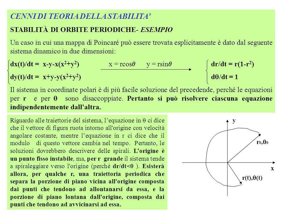 CENNI DI TEORIA DELLA STABILITA STABILITÀ DI ORBITE PERIODICHE- ESEMPIO Un caso in cui una mappa di Poincaré può essere trovata esplicitamente è dato