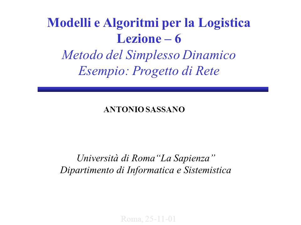 Modelli e Algoritmi per la Logistica Lezione – 6 Metodo del Simplesso Dinamico Esempio: Progetto di Rete ANTONIO SASSANO Università di RomaLa Sapienza