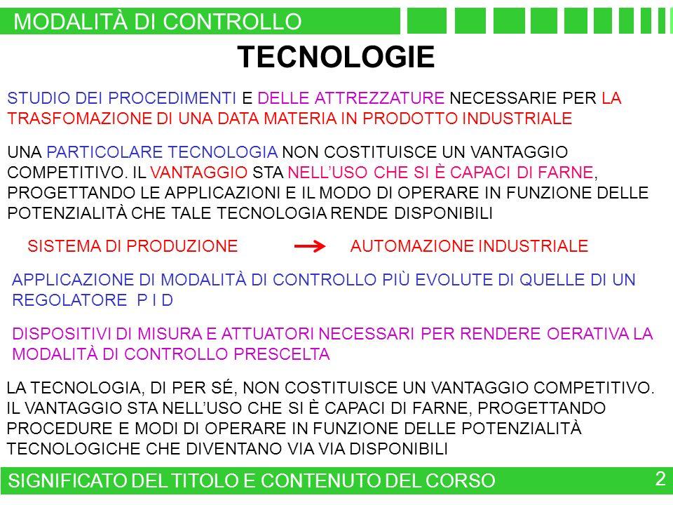 MODALITÀ DI CONTROLLO SIGNIFICATO DEL TITOLO E CONTENUTO DEL CORSO 2 TECNOLOGIE SISTEMA DI PRODUZIONE AUTOMAZIONE INDUSTRIALE APPLICAZIONE DI MODALITÀ