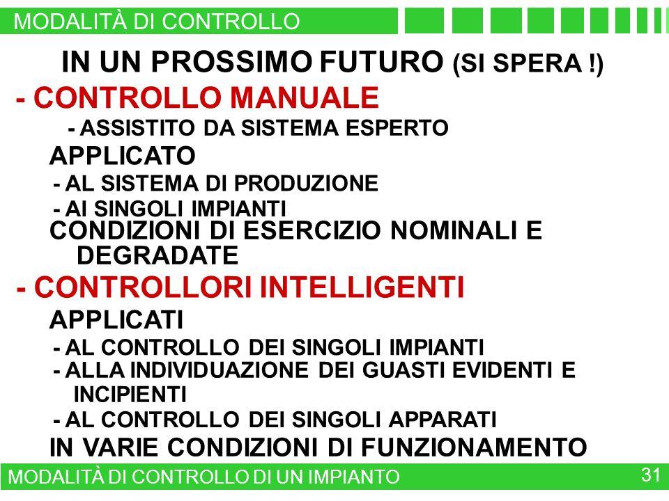 IN UN PROSSIMO FUTURO (SI SPERA !) - CONTROLLO MANUALE - ASSISTITO DA SISTEMA ESPERTO APPLICATO - AL SISTEMA DI PRODUZIONE - AL CONTROLLO DEI SINGOLI