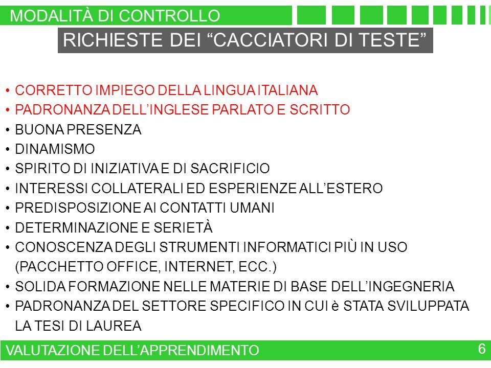 MODALITÀ DI CONTROLLO VALUTAZIONE DELLAPPRENDIMENTO 6 RICHIESTE DEI CACCIATORI DI TESTE CORRETTO IMPIEGO DELLA LINGUA ITALIANA PADRONANZA DELLINGLESE PARLATO E SCRITTO BUONA PRESENZA DINAMISMO SPIRITO DI INIZIATIVA E DI SACRIFICIO INTERESSI COLLATERALI ED ESPERIENZE ALLESTERO PREDISPOSIZIONE AI CONTATTI UMANI DETERMINAZIONE E SERIETÀ CONOSCENZA DEGLI STRUMENTI INFORMATICI PIÙ IN USO (PACCHETTO OFFICE, INTERNET, ECC.) SOLIDA FORMAZIONE NELLE MATERIE DI BASE DELLINGEGNERIA PADRONANZA DEL SETTORE SPECIFICO IN CUI è STATA SVILUPPATA LA TESI DI LAUREA