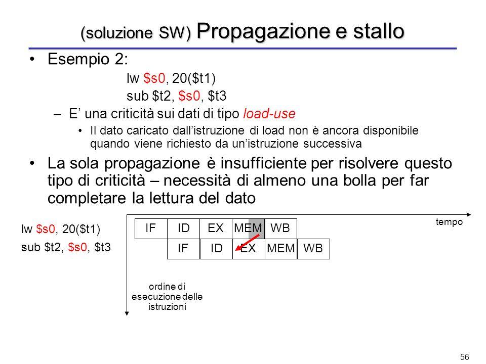 55 (soluzione SW) Propagazione (o forwarding) Esempio 1: quando la ALU genera il risultato, questo viene subito messo a disposizione per il passo dell