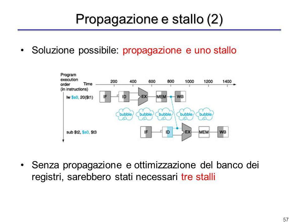56 (soluzione SW) Propagazione e stallo Esempio 2: lw $s0, 20($t1) sub $t2, $s0, $t3 –E una criticità sui dati di tipo load-use Il dato caricato dalli