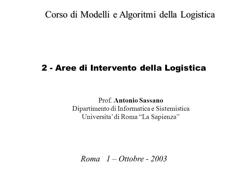 Corso di Modelli e Algoritmi della Logistica Roma 1 – Ottobre - 2003 Prof. Antonio Sassano Dipartimento di Informatica e Sistemistica Universita di Ro