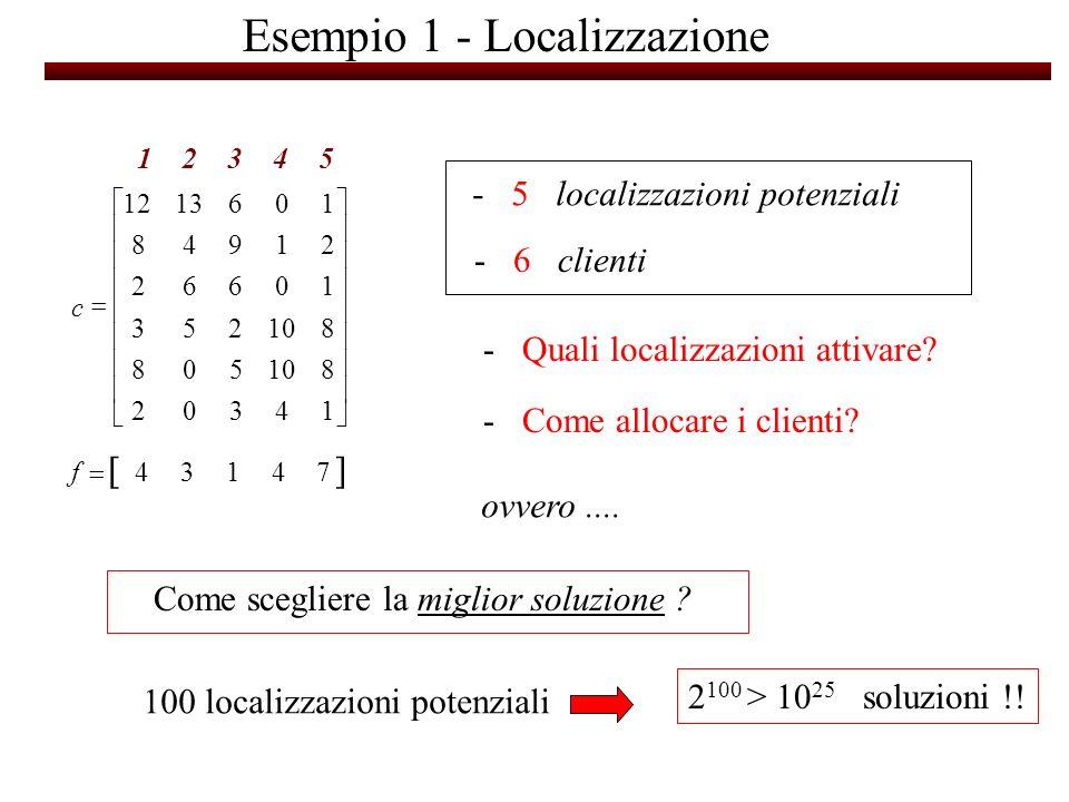 Esempio 1 - Localizzazione - Quali localizzazioni attivare? - Come allocare i clienti? 74134 14302 810508 8 253 10662 21948 1061312 f c 12345 - 5 loca