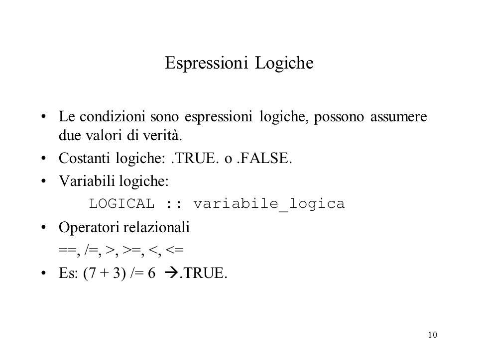 10 Espressioni Logiche Le condizioni sono espressioni logiche, possono assumere due valori di verità. Costanti logiche:.TRUE. o.FALSE. Variabili logic