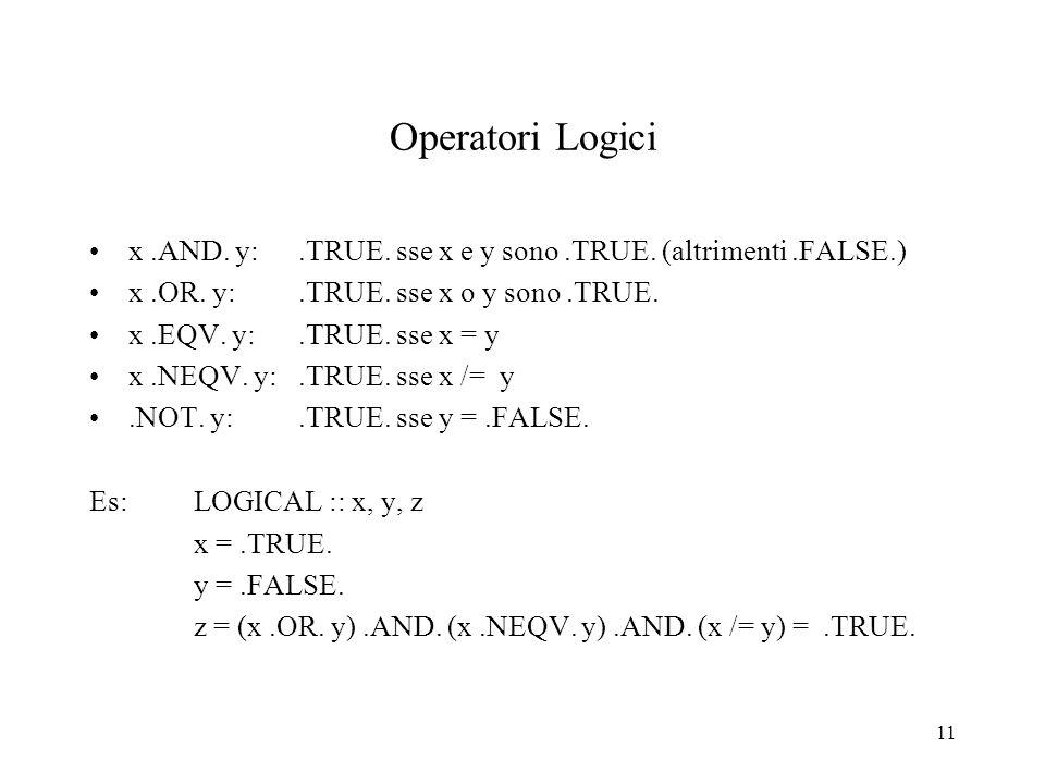 11 Operatori Logici x.AND. y:.TRUE. sse x e y sono.TRUE. (altrimenti.FALSE.) x.OR. y:.TRUE. sse x o y sono.TRUE. x.EQV. y:.TRUE. sse x = y x.NEQV. y:.