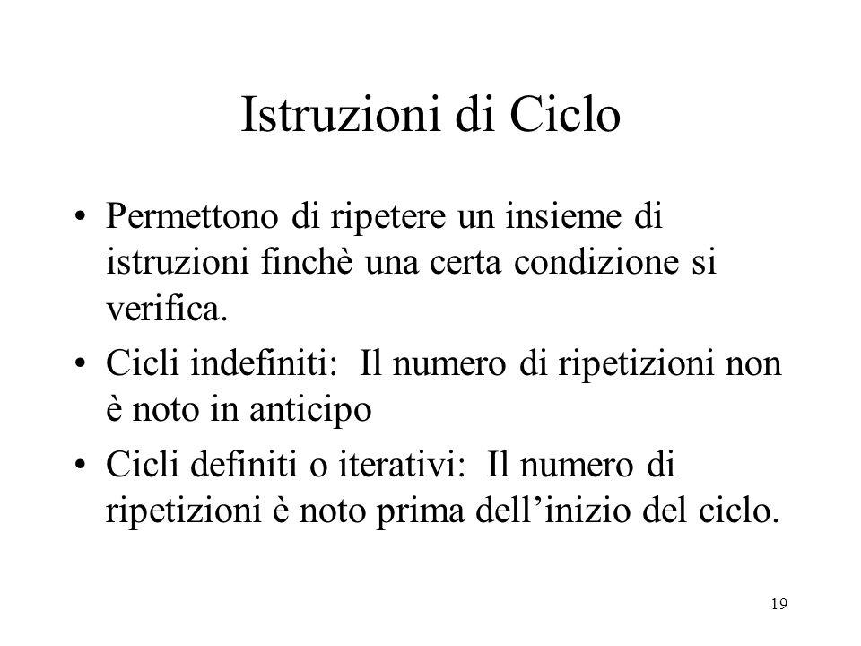 19 Istruzioni di Ciclo Permettono di ripetere un insieme di istruzioni finchè una certa condizione si verifica. Cicli indefiniti: Il numero di ripetiz