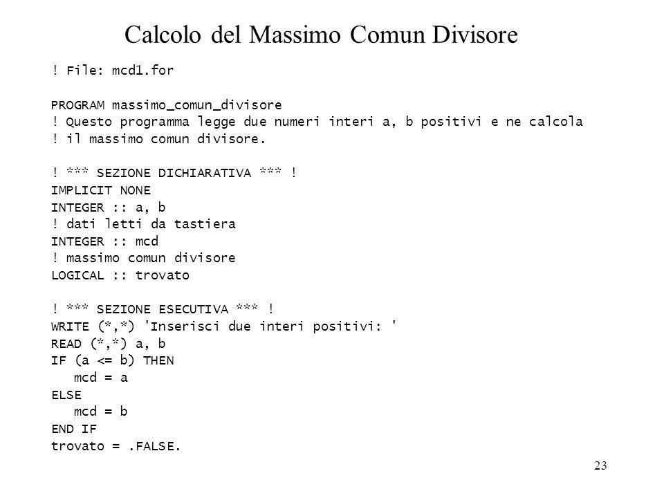 23 Calcolo del Massimo Comun Divisore ! File: mcd1.for PROGRAM massimo_comun_divisore ! Questo programma legge due numeri interi a, b positivi e ne ca