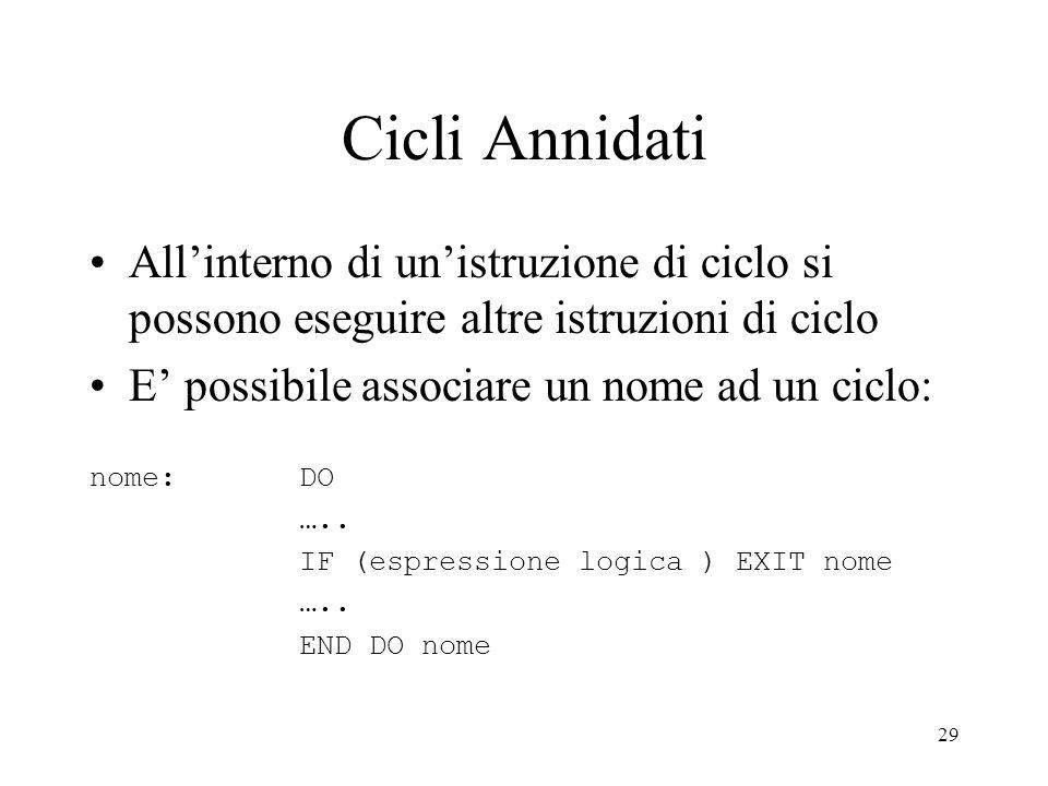 29 Cicli Annidati Allinterno di unistruzione di ciclo si possono eseguire altre istruzioni di ciclo E possibile associare un nome ad un ciclo: nome: D