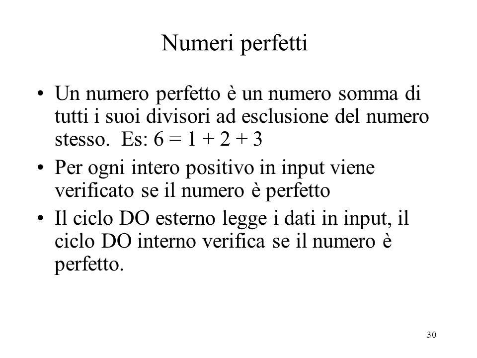 30 Numeri perfetti Un numero perfetto è un numero somma di tutti i suoi divisori ad esclusione del numero stesso. Es: 6 = 1 + 2 + 3 Per ogni intero po