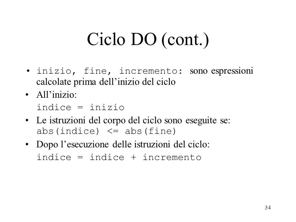 34 Ciclo DO (cont.) inizio, fine, incremento: sono espressioni calcolate prima dellinizio del ciclo Allinizio: indice = inizio Le istruzioni del corpo