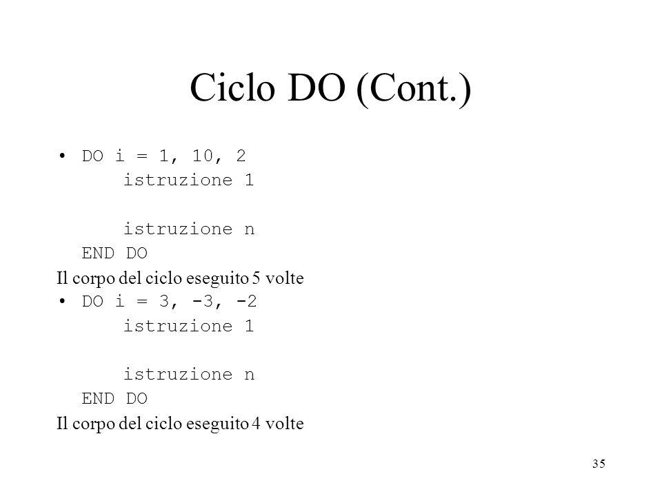35 Ciclo DO (Cont.) DO i = 1, 10, 2 istruzione 1 istruzione n END DO Il corpo del ciclo eseguito 5 volte DO i = 3, -3, -2 istruzione 1 istruzione n EN